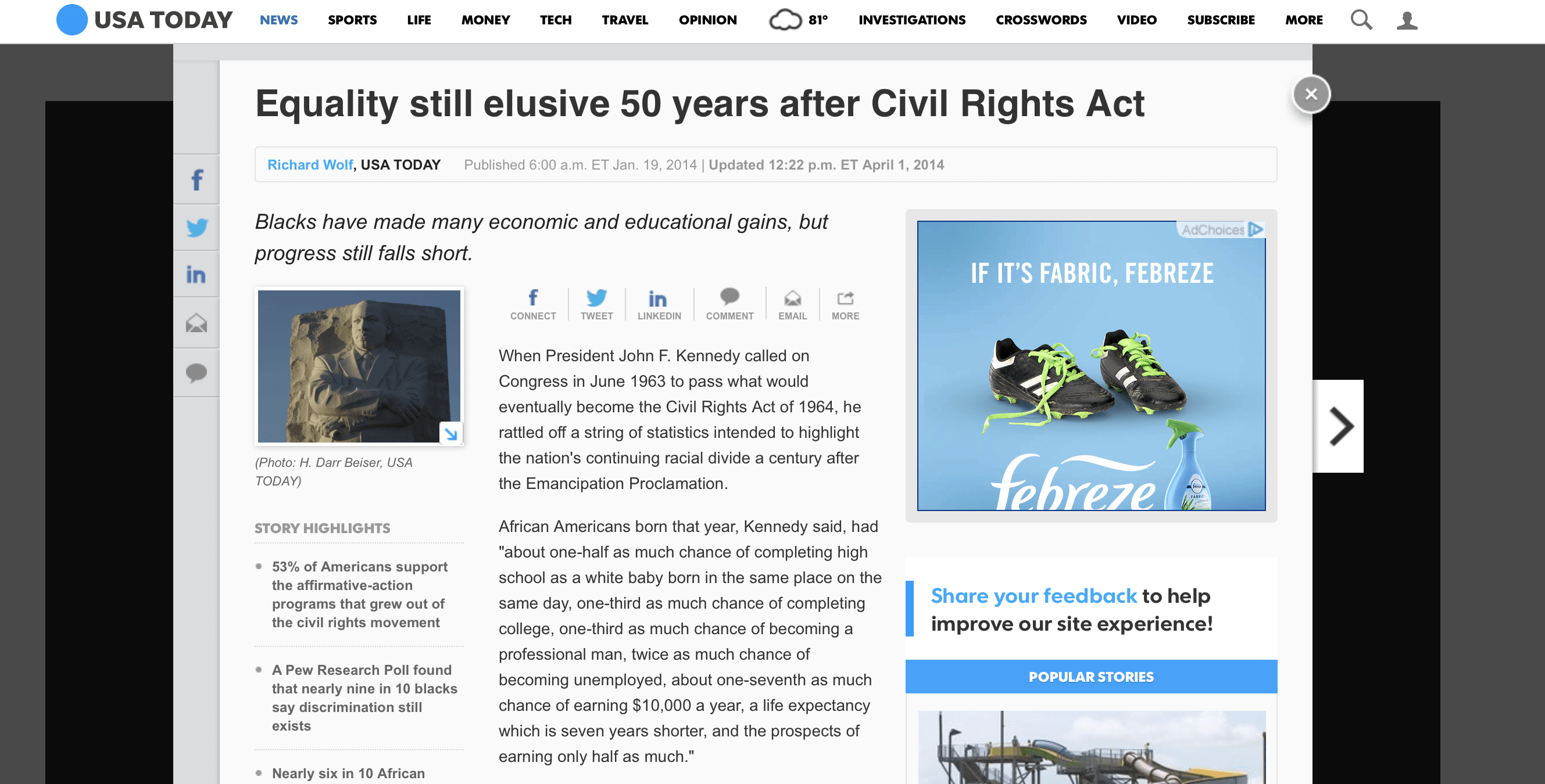 Equality still elusive 50 years after Civil Rights Act