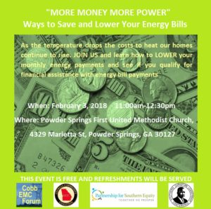 """More Money More Power"": Ways to Save and Lower Your Energy Bills @ Powder Springs First United Methodist Church 