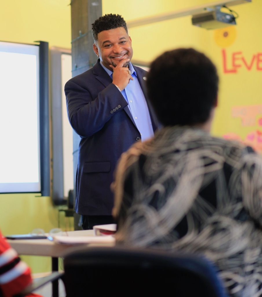 Partnership for Southern Equity Founder and Chief Equity Officer Nathaniel Smith addresses the 2019 cohort of the Resident Leaders for Equity leadership development program in Atlanta, GA.
